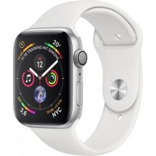 Apple Watch Series 4 (GPS) Aluminium 44mm silber mit Sportarmband weiß (MU6A2FD/A)
