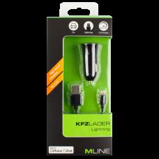 MLINE, KFZ-Lader Single für Apple Lightning, Weiss