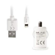 MLINE, KFZ-Lader Single USB 1A und Lightning Datenkabel Apple Lightning, Weiss