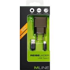MLINE, Reiselader & Datenkabel für Single USB 2,1A, USB A auf USB C, Schwarz